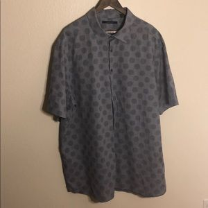 Perry Ellis Blue Patterned Shirt Sleeve Button up